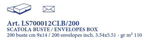 CLASSICA 200 ENVELOPES BOX 9X14 CM WHITE